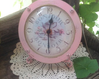 Vintage Bedside Clock - Nonworking Shabby Chic Decor