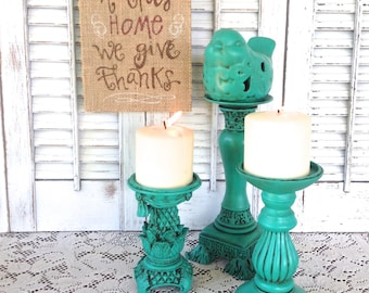 Bird Theme Candle Holders - Turquoise Green Table Top Pedestal Candle Holder - Bird Tea Light Holder - Pillar Candle Holder - Cottage Chic