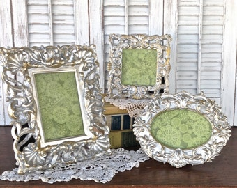Baroque Silver Picture Frames 4x4 4x6 - Set of 3 Eclectic Picture Frames - Table Top Easel Back - Oval Square Rectangle Frames