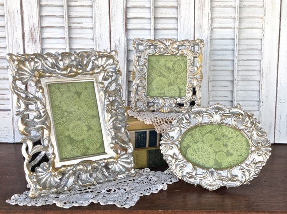 baroque silver picture frames 4x4 4x6 set of 3 eclectic. Black Bedroom Furniture Sets. Home Design Ideas
