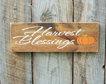 Rustic Home Decor Happy Harvest Sign Rustic Harvest Fall Decor Distressed Harvest Sign Autumn Fall Sign Shelf Sitter Pumpkin Decor Blessings