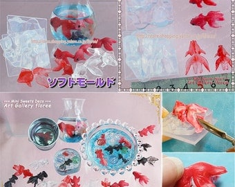 SALE 3dimensional goldfish flexible mold for resin and clay in different size