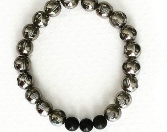 Mens bracelet. Handmade jewelry. Stretch bracelet. Silver glass beads. Mens silver bracelet. Black matte beaded bracelet. Sugarplum Gallery