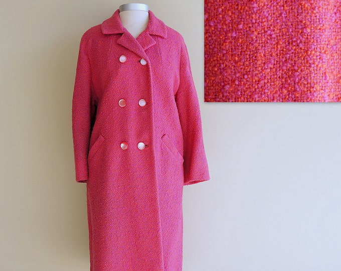 Boucle Coat Pink Wool Tweed LARGE XL 60s Coat Double Breasted Raglan Sleeve 1960s Winter Coat Frank Gallant the Tailored Women Fifth Avenue