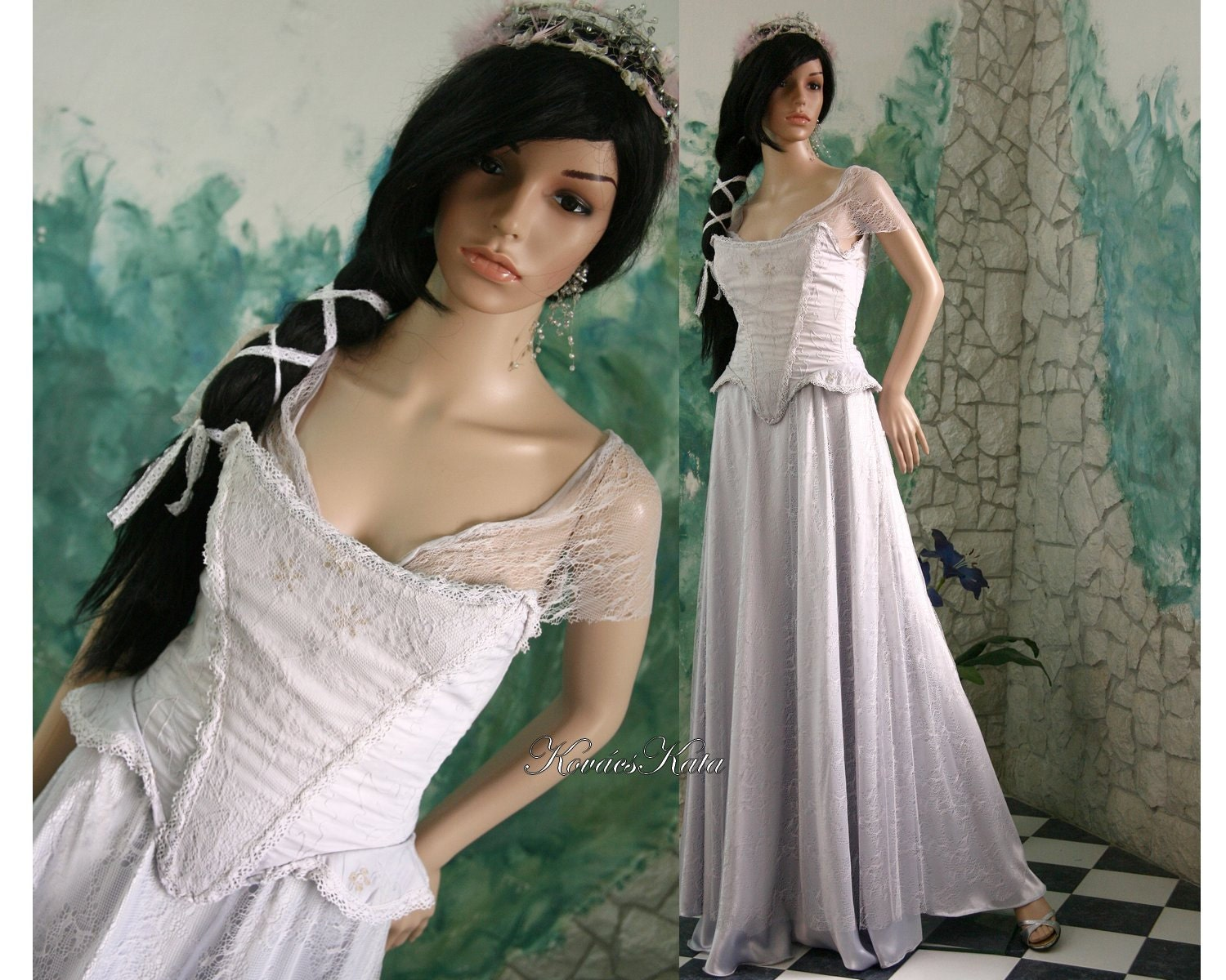Delicate medieval style fairy alternative wedding gown for Medieval inspired wedding dresses