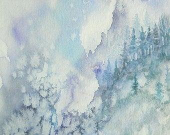 "ORIGINAL watercolor painting, NOT a print. ""Crystal Mountain Pass"""