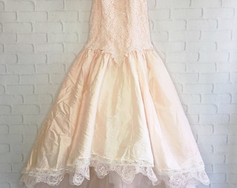pale peach & cream hi lo raw silk embroidered wedding dress with short train by mermaid miss Kristin