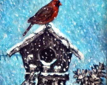 "Fine Art 5 X 5 Original Acrylic Painting ""Shelter in the Storm"""