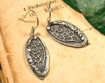 999 silver, Elf, wing earrings