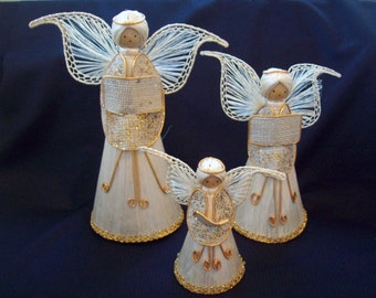 Vintage Abaca Fiber Angel Figurine Lot of 3 Choir Angel Figurine Christmas Ornament circa 1990s