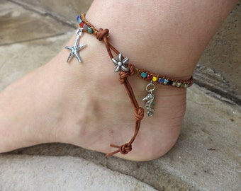 Starfish Sea Star Seahorse Colorful Bohemian Leather Anklet Beach Boho Bohemian Jewelry Leather Jewelry