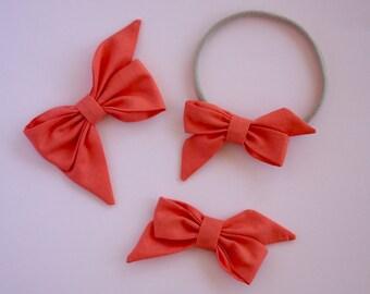 "The ""Mae"" bow in dark coral  headband or clip"
