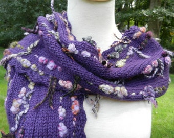"Knitted Scarf ""Purple Pleasure"" for Women Hand Knit Purple Scarf with Multicolored Nubby Yarn Woven Throughout"