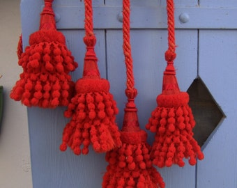 Stunning, Antique Tassels, Tie Backs,French, early  1900's  Hand made. A Pair, Red.