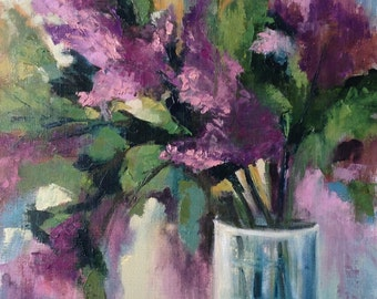Lilac flowers painting. Original oil painting with lilac flowers .Ready to ship.