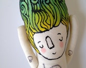 sweet little mermaid woth nautical tattoos - one of a kind hand painted plush doll