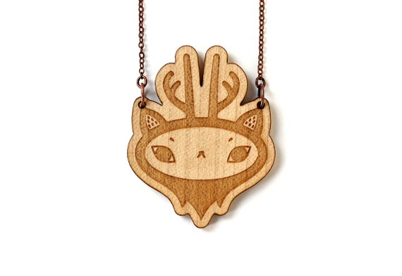 Deer necklace - reindeer pendant - forest animal jewelry - cute deer necklace - lasercut maple wood - graphic illustrated jewelry