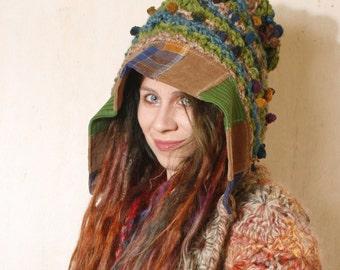 Green Knit hood Gnome hat Crochet Pixie hat Green crochet hood Hooded hat Adult crochet hat Winter hat Crocheted hood woman gift