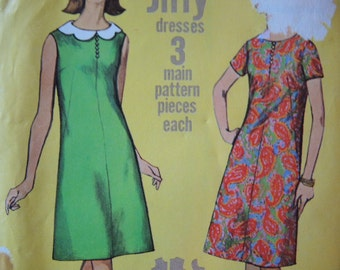vintage 1960s simplicity sewing pattern 6395 misses jiffy dress with detachable collar size 12