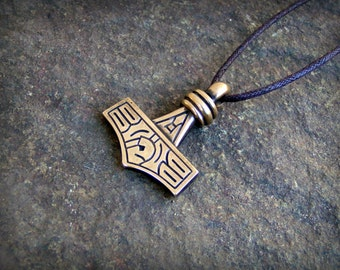 Thors Hammer Mjolnir Pendant from Gotland in Lost Wax Cast Bronze - Antiqued