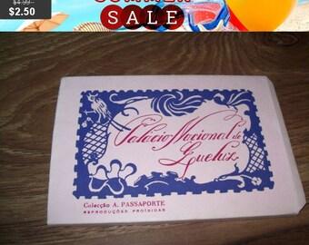 SALE Vintage antique postcards booklet, portugal postcards, national gardens and palace of queluz