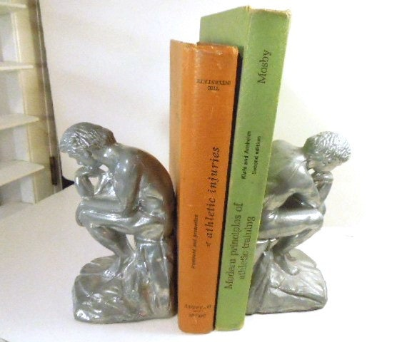 The Thinker Bookends Bookend Pair Shiny Silver Heavy