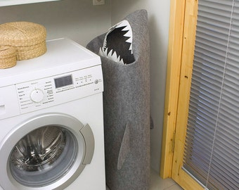 SHARK, Laundry basket, Laundry hamper, Storage basket, Clothes hamper, Laundry room decor, Storage bin, Toy basket, Felt basket, Gray decor