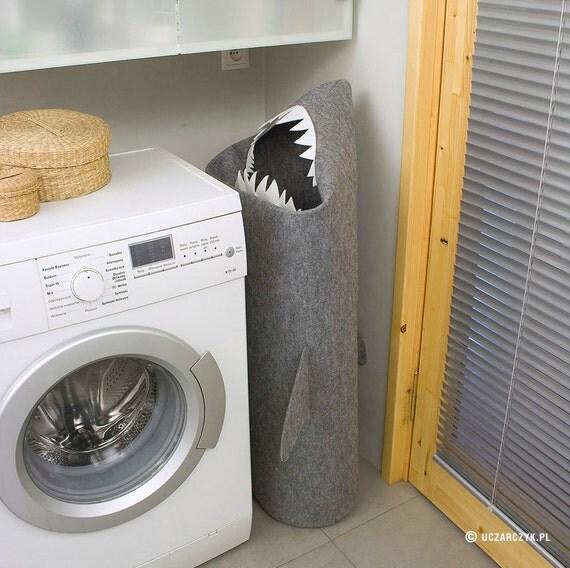 SHARK, Laundry basket, Laundry hamper, Storage basket, Clothes hamper, Laundry room decor, Storage bin, Toy basket, Felt basket, Gray decor