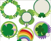 St Patrick's Day Clip Art Set -Personal and Limited Commercial Use- St Patricks Shamrock Circles Clipart