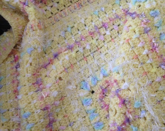 Pale Yellow with multi-textured, multi-coloured rows Crochet Afghan/Lap Rug