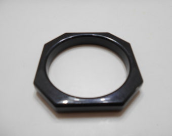 Vintage Black Octagonal Bangle Bracelet (4871) (BP)