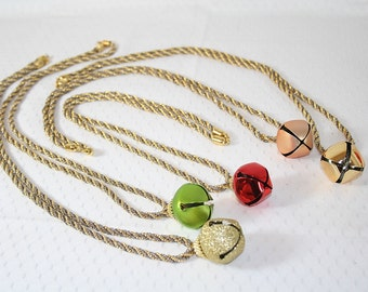 Jingle Bell Necklace Silvertone Goldtone Chain Gold Red Green Gold Glitter Christmas Holiday Necklace Wedding Party