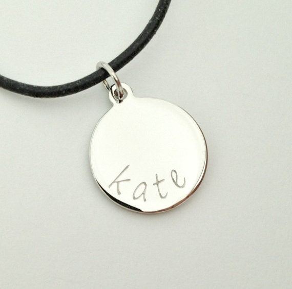 Custom Circle Charm on Black Cord  Personalized Engraved Necklace