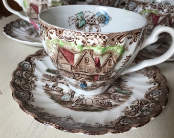 Johnson Brothers Heritage Hall Set of 4 Teacups and Saucers made in England Brown and Multicolored Transferware