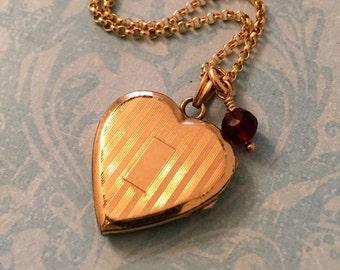 Vintage Heart Locket, Striped Hayward Locket with Garnet Dangle, Wedding Locket, Gift for Her