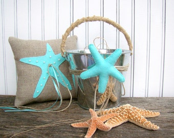 Beach Wedding, Flower Girl Basket, Ring Bearer Pillow, Aqua Blue, Wedding Ceremony, Starfish, Flower Girl Set, Blue Wedding, Beach Decor