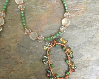 Princess Garden copper Crystal and Seaglass, green Czech glass necklace and earring set, ladies gift