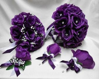 Wedding Silk Flower Bridal Bouquet 18 Pces Package Purple Eggplant Bride BridesmaidsToss Bouquets Boutonnieres Corsages FREE SHIPPING