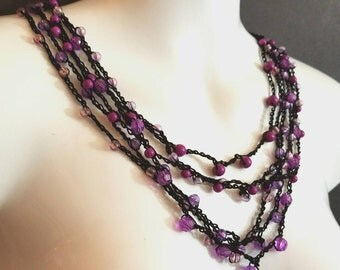 Black Berry Crochet Clasp Multiple strand Beaded Necklace OOAK by GothDollie