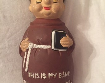 Vintage Monk savings bank