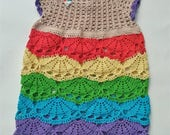 Hand Crocheted Baby Rainbow Dress 3-6 month size