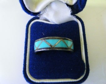 Vintage Mid Century Turquoise and Sterling Silver Ring Size 11 1/2