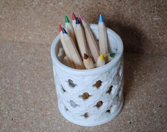 White Ceramic Pencil Cup Pencil Holder