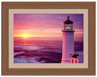 Purple Sky With Lighthouse Seascape Photographic Print - Various Sizes - Gift Idea