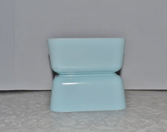 Glasbake Refrigerator Dishes Set of 2 ~ Turquoise Glasbake ~ Aqua Glasbake ~ Rectangle Dish ~  Epsteam