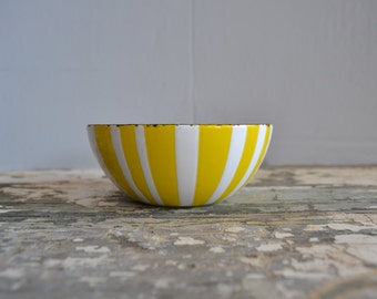 Cathrineholm Yellow & White Stripe  Enamel Bowl ~  4'' Catherine Holm Bowl ~ Enamel Bowl ~ Epsteam