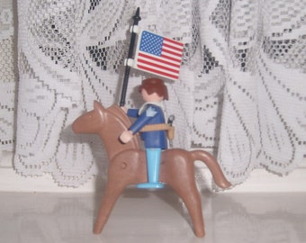 Vintage Geobra Playmobil 1974 Civil War Soldier with Horses