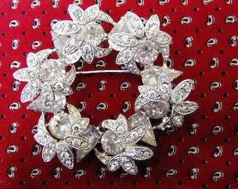 EISENBERG Clear Crystal Rhinestone BROOCH PIN Signed Silver Tone Vintage Designer Costume Jewelry 30s 40s Wedding Gift Bridal