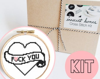 F*ck You Heart Modern Cross Stitch Kit - easy chart design - rude offensive funny DIY gift - mature swear words tattoo embroidery kit