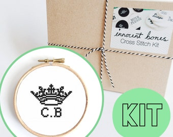 CUSTOM Crown Name Initials Modern Cross Stitch Kit - easy chart design - include thread, fabric, hoop, needle, guide - name monogram letters